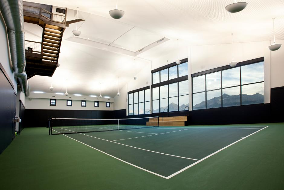 Indoor shot of tennis court design no 015 private for Indoor facility design